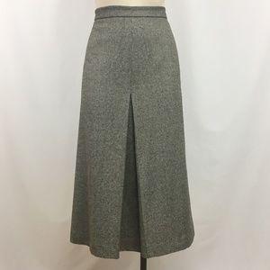 J. CREW Skirt Size 8 Wool Blend Brown Center Pleat